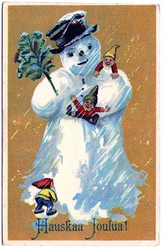 Vintage Clip Art - Darling Snowman Postcard - Finland - The Graphics Fairy
