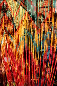 Wooden Beaded Curtain with Colorful Vintage Design (Door Wall) on Etsy, $60.00