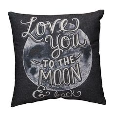 Our To The Moon Chalk Pillow lets you add the look of chalk art to your home without the mess all while displaying a message of love, whimsy and wit. 16x16. Cotton/Poly Blend