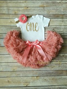 Coral Tutu Outfit First Birthday Outfit Girl Gold Coral One Bodysuit One Onesie Adassa Baby