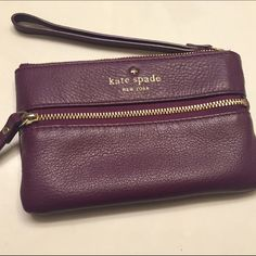 """Kate Spade cobble hill bee wristlet purple tech Kate Spade cobble hill bee wristlet / tech pouch in eggplant purple and great condition. I love this color, but it has been sitting in my closet for more than a year.  It was gently used for a few months, but no stains or major signs of wear. Measures approximately 4"""" x 6.5"""". Non-smoking, non-trading home...but there is a Husky that gets a hair or two on every item.  ❌no trades - no low balls❌ Please use offer button. kate spade Bags Clutches…"""