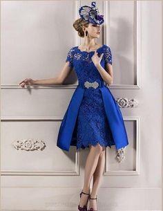 Sexy bleu Royal manches courtes en dentelle formelle de soirée courte robes de soirée de mariage pour 2015 mère de la mariée robes Plus Size dans Robes de soirée de Mariages et événements sur AliExpress.com | Alibaba Group