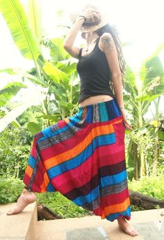 Cotton Rainbow Harem Trousers Aladdin Alibaba Gypsy Yoga Pants Hippie Hipster