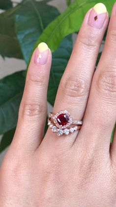 Engagement Cocktail Ring -DCS-9033 xmas gift Wow Blood Red Ruby Ring Created Gemstone Amazing Beautiful Design Ring Birthstone Ring