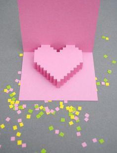 Tarjetas de Corazones Pixelados para tu Boda | HISPABODAS