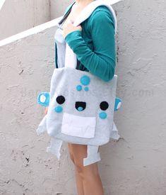 Robot Tote Bag  Cute Tote  Kawaii Schoolbag  by HappyCosmos, $25.00