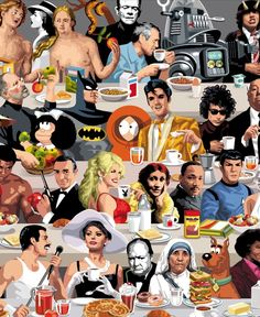 Brunch Stars.  A compilation of universal figures that started as a recycling of an advertising job into gift for a friend's kitchen. So let's join together some of the most famous and influential personalities of our culture, art and history, fictional or not, at the same table because breakfast is the most important meal of the day. Is not it?