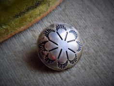 "Vintage Sterling Silver Navajo Stamped Concho Button, 5/8""d Estate Lot"