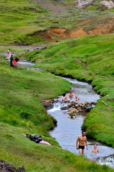 """There are many, many wild hot springs and pools, steam holes and warm streams in Iceland.  About a half hour hike into the mountain valley of Reykjadalur, the Klambragil """"river"""" is a comfortable hot tub temperature nearly year round."""