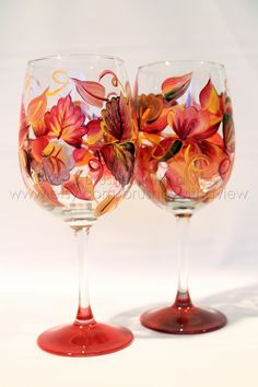 20 oz wine glass with rich fall colored leaves hand painted wine glass. Colors…