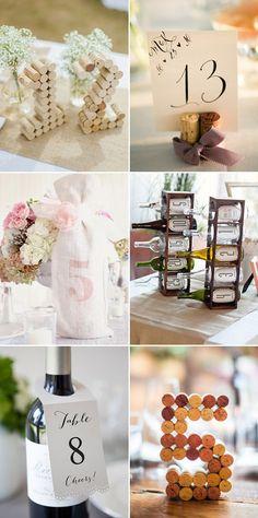 Vintage Wine and Winer Corks Wedding Table Numbers