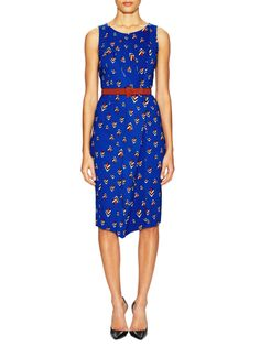 Belted Pleated Day Dress