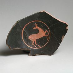 Kylix fragment, Attributed to Oltos, Terracotta, Greek, Attic