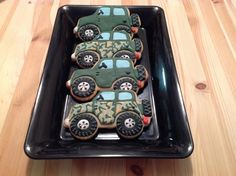Army Jeep Cookies | Cookie Connection Camo Cookies, Fancy Cookies, Iced Cookies, Cupcake Cookies, Sugar Cookies, Cupcakes, Army Cake, Military Cake, Military Men