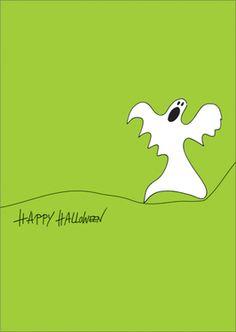 """Grußkarte: """"Happy Halloween"""" mit gespenstischem Geist auf Abwegen"""