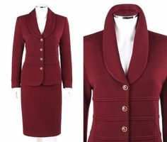 ST JOHN Collection 2 Pc Burgundy Santana Knit Jacket Skirt Suit Set Size 8 / 10 #StJohn #SkirtSuit