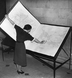 The map book from Hollow City? : A woman inspects a map bigger than she is. The giant book was loaned for an exhibition at the Manchester Central Library in February, Reading Library, Library Books, Vintage Library, Vintage Books, Antique Books, Old Pictures, Old Photos, Vintage Photographs, Vintage Photos