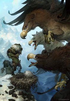 Laurel D. Austin Concept Art and Illustration ~Trolls caught stealing giant eagle egg.  ~Woops, somebody's in BIG trouble!