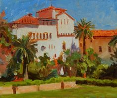 Santa Barbara Courthouse California oil painting by Robin Weiss -- Robin Weiss Artist Gallery, Fine Art Gallery, Grand Teton National Park, National Parks, Santa Barbara Courthouse, California Art, Pattern Wallpaper, Art For Sale, Landscape Paintings