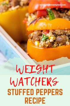 Weight Watchers have a recipe for stuffed peppers that tastes great, are easy to make, and they are super healthy too. Weight Watcher Dinners, Dessert Weight Watchers, Weight Watchers Lunches, Plats Weight Watchers, Weight Watchers Breakfast, Weight Watchers Chicken, Weight Watchers Desserts, Weight Watchers Stuffed Peppers Recipe, Stuffed Peppers Healthy