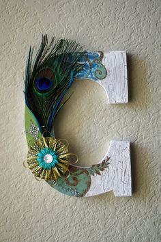 Wooden Wedding Initial Monogram Peacock Letters. $35.00, via Etsy.