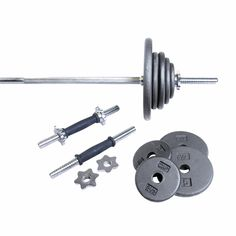 CAP Barbell Regular 110-Pound Weight Set with 5-Feet Threaded Standard Bar (Grey). Plates included: 6 x 2.5 lb, 6 x 5 lb, 4 x 10 lb. Includes 5' standard bar and 2 x standard dumbbell handles. 30 Day Warranty. Please Note: This item ships in 2 boxes. In some cases, carrier may deliver 1st box before the 2nd.