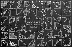 White Hand Drawn Photo Corners Clipart Doodle corners clip art Photo overlay PNG For Personal and Commercial Use Arte de pizarra Chalkboard Doodles, Chalkboard Fonts, Chalkboard Drawings, Chalkboard Designs, Chalkboard Ideas, Chalkboard Lettering Alphabet, Chalkboard Art Tutorial, Chalkboard Clipart, Chalkboard Writing