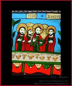 Cina de taină icoană naivă pictată pe dosul sticlei în ulei pictură tradițională lucrare de artă religioasă icoană ortodoxă pe sticlă icoană Cina de taină  icoană  pictată  pe sticlă cu Cina de taină