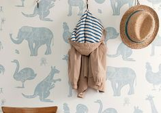 We cant resist an unapologetically playful wallpaper in a kids room, like the cute creature wall covering shown here. Kids Bedroom Wallpaper, Children Wallpaper, Tier Wallpaper, Wallpaper Wallpapers, Wallpaper Ideas, Animal Print Wallpaper, Baby Bedroom, Nursery Inspiration, Project Nursery