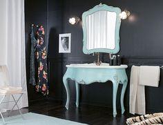 Ivory & Ebony COMP4 French Italian Painted Blue Bathroom Vanity in Cherrywood
