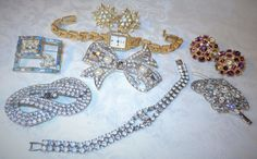 Vintage Jewelry Lot Rhinestone Japan-Watch Pins Bracelet Flower Pin/Brooches WoW #Unbranded