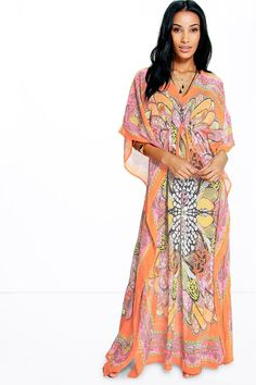 a86cae7c663fc Neve Butterfly Print Maxi Beach Cover Up at boohoo.com Butterfly Print,  Sari,