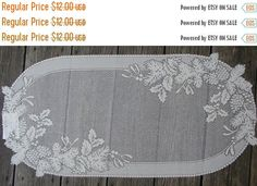 """ON SALE Runner Heritage Lace Table Oval Ecru Off White 31"""" long and 15 1/2"""" wide Perfect for the Winter Season with Pine Cones and Holly Mo"""