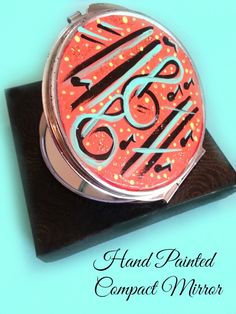Hand Painted Beauty Cosmetic Compact Makeup Mirror for  Bag or Purse Box Included