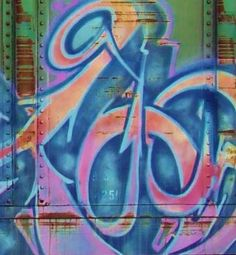 Dancing Arrows Tag Macro - Street Art Photography - Blue Pink Orange - Abstract Urban Graffiti - Industrial Style - Fine Art Photography