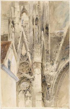 yama-bato: John Ruskin Entrance to the South Transept of Rouen Cathedral 1854 link Gothic Architecture, Architecture Details, Gmunden Austria, John Ruskin, Illustration Art, Illustrations, Rouen, Watercolor Art, Art Nouveau