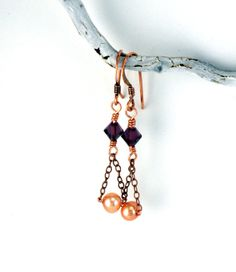 Antique Copper Chain Dangle Earrings Peach and by APerfectGem, $12.00 www.etsy.com/shop/aperfectgem