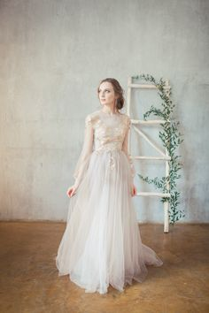 Golden Embroidered Blush Wedding Dress Doren Boned Flowers Covered Back Closed Long Sleeve Gown Fl