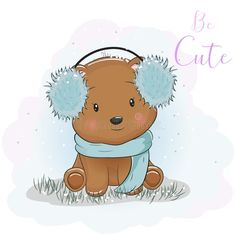 Cute cartoon bear with fur headphones and scarf. Illustration about character, happiness, animals, illustration, graphic, drawing, cheerful, christmas, decoration, happy - 135325197 Cute Bear Drawings, Cartoon Drawings Of Animals, Bear Cartoon, Cartoon Mignon, Scarf Drawing, Drawing Videos For Kids, Simple Anime, Cartoon Drawing Tutorial, Dog Vector