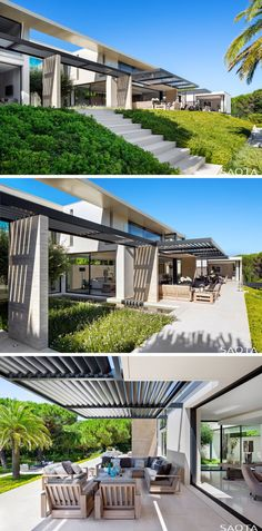 This modern house has stairs that lead from the backyard up to a partially covered long terrace with an outdoor lounge and dining area. #Terrace #ModernOutdoorSpace #ModernHouse