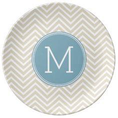 Pastel Blue and Linen Chevrons Custom Monograms Porcelain Plate