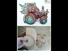 Finnabair Creative Team project Altered Wooden Tractor - YouTube