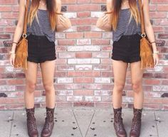 combat boots and shorts