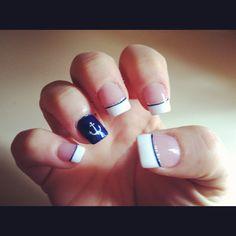 anchor navy nails Navy Nail Art, Navy Nails, Fingernail Designs, Cute Nail Designs, Military Nails, Military Life, Painted Acrylic Nails, Anchor Nail Art, Cruise Nails