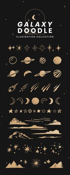 High Resolution Cute Galaxy Doodle Style Illustration Design Elements & Stickers