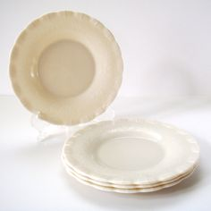 Milk Glass Plate Set Set of Four Delicate by Flourisheshome