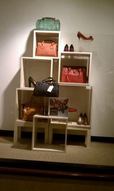 Retail display idea: repurpose display cubes, tables and boxes with Bag Store Display, Handbag Display, Scarf Display, Handbag Storage, Vendor Displays, Craft Fair Displays, Shop Window Displays, Store Displays, Retail Displays