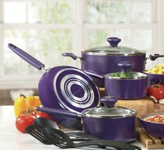 13-Piece Silverstone ® Nonstick Cookware Set with Rebate from Seventh Avenue ® Purple :-)