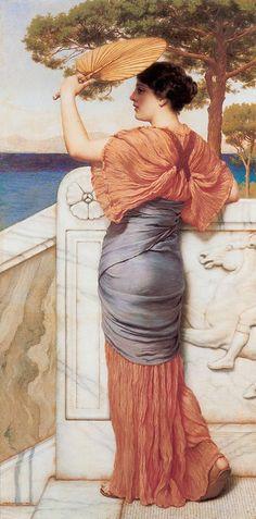 """""""On the Balcony"""" - Pintra de John William Godward (1861-1922)"""