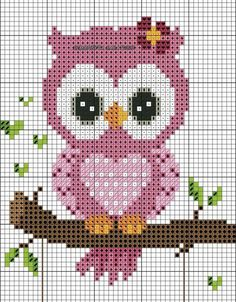 Gufetti For Outdoor Cross Point Diagram - Diy Crafts Cross Stitch Owl, Small Cross Stitch, Cross Stitch Animals, Cross Stitch Flowers, Cross Stitch Charts, Cross Stitch Designs, Cross Stitching, Cross Stitch Embroidery, Embroidery Patterns